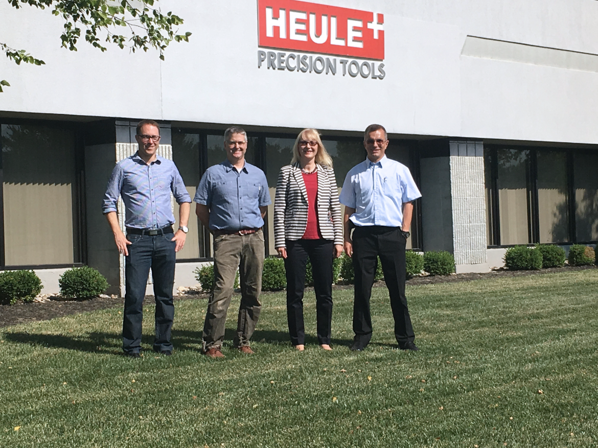 Gary Brown, Ulf Heule, Rita Heule, Christoph Keel standing in front of HEULE North America in Loveland, OH