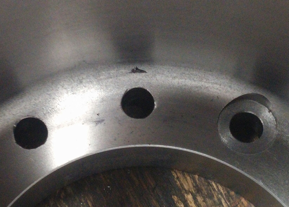 Tool failure while cutting spotfaces