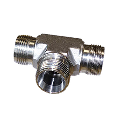 hydraulic fitting with cross bores