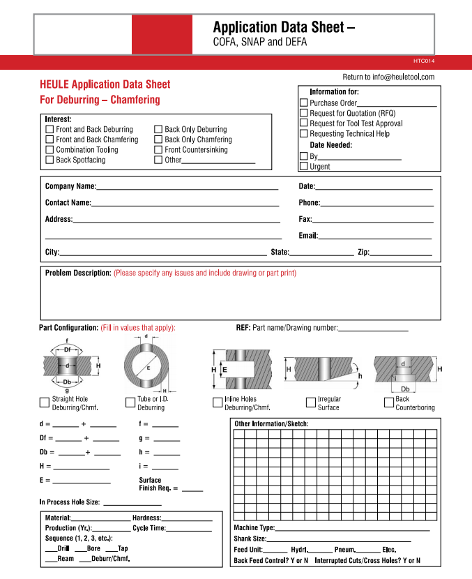 Heule application data sheet for deburring/chamfering