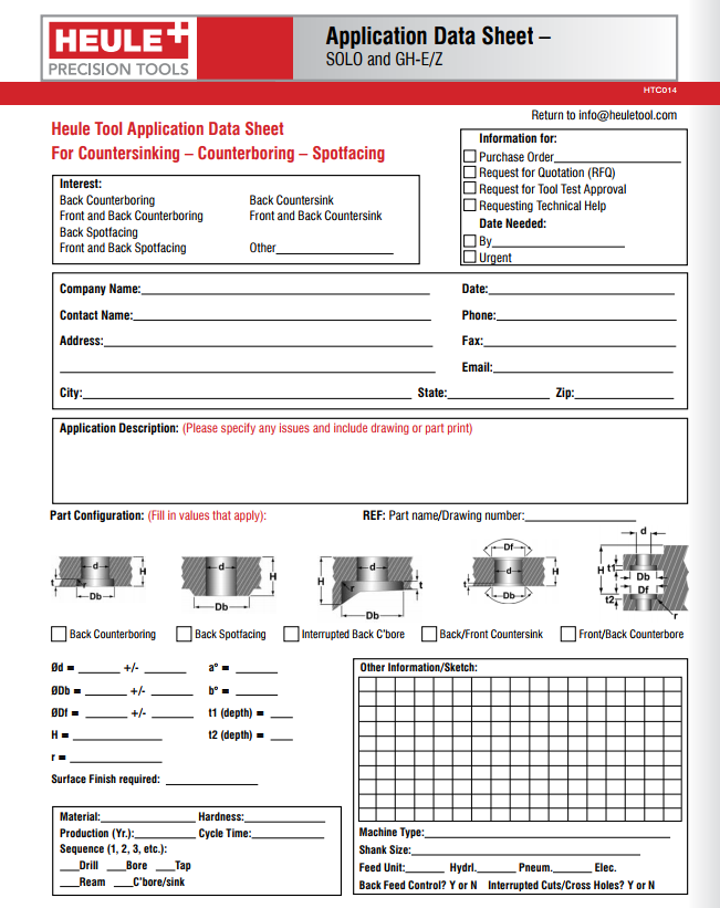 Heule application data sheet for countersinking