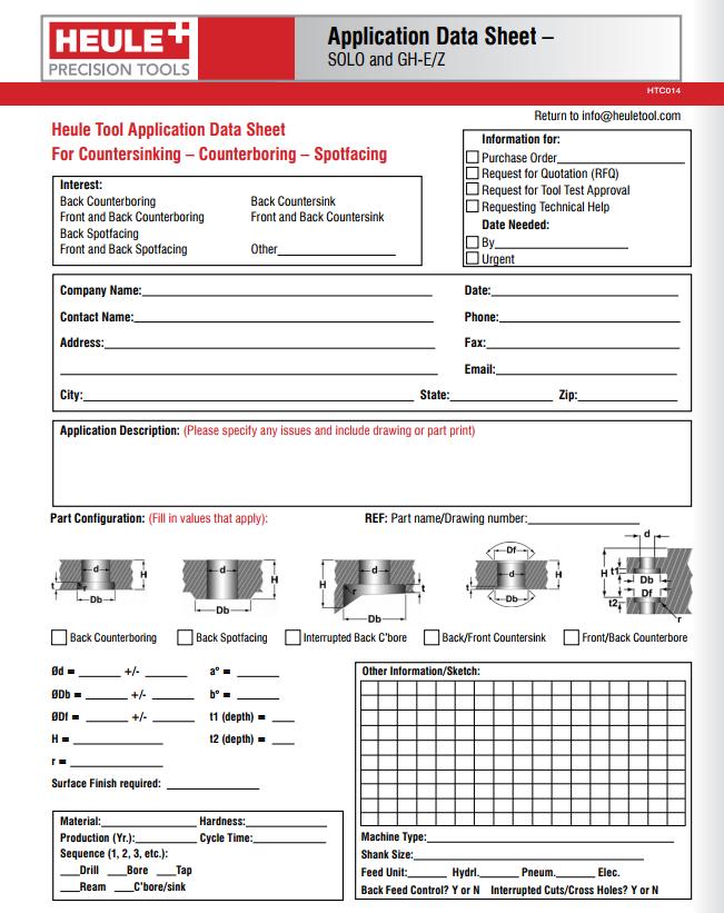 Heule application data sheet for countersinking