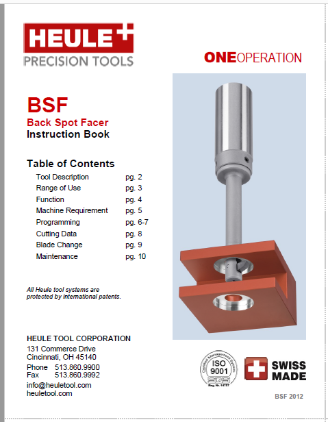 HEULE BSF Back spotfacing tool instruction book