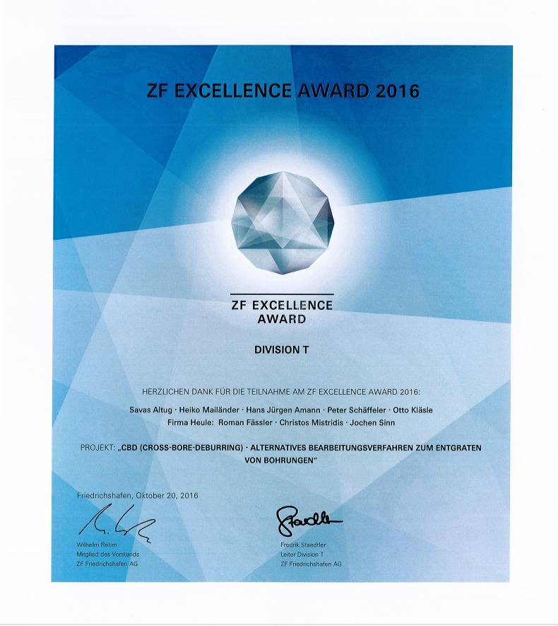 ZF Excellence Award to HEULE