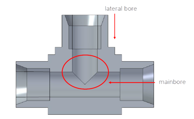 cross hole deburring a crosspiece of a hydraulic ball valve