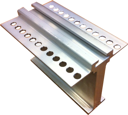 aluminum profile machined with a hole deburring and drilling tool for aluminum